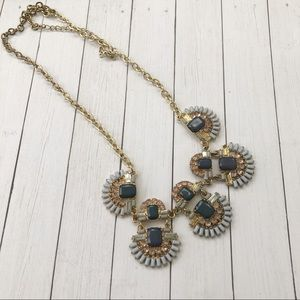 🦋 3/$15 Statement jeweled necklace, blue & gold